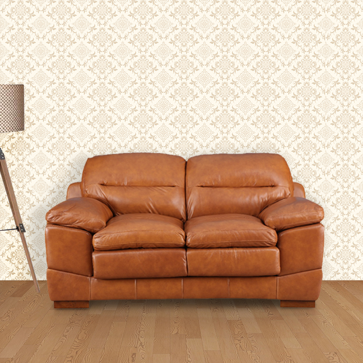 Hemsworth Leather Two Seater Sofa in Honey Colour by HomeTown