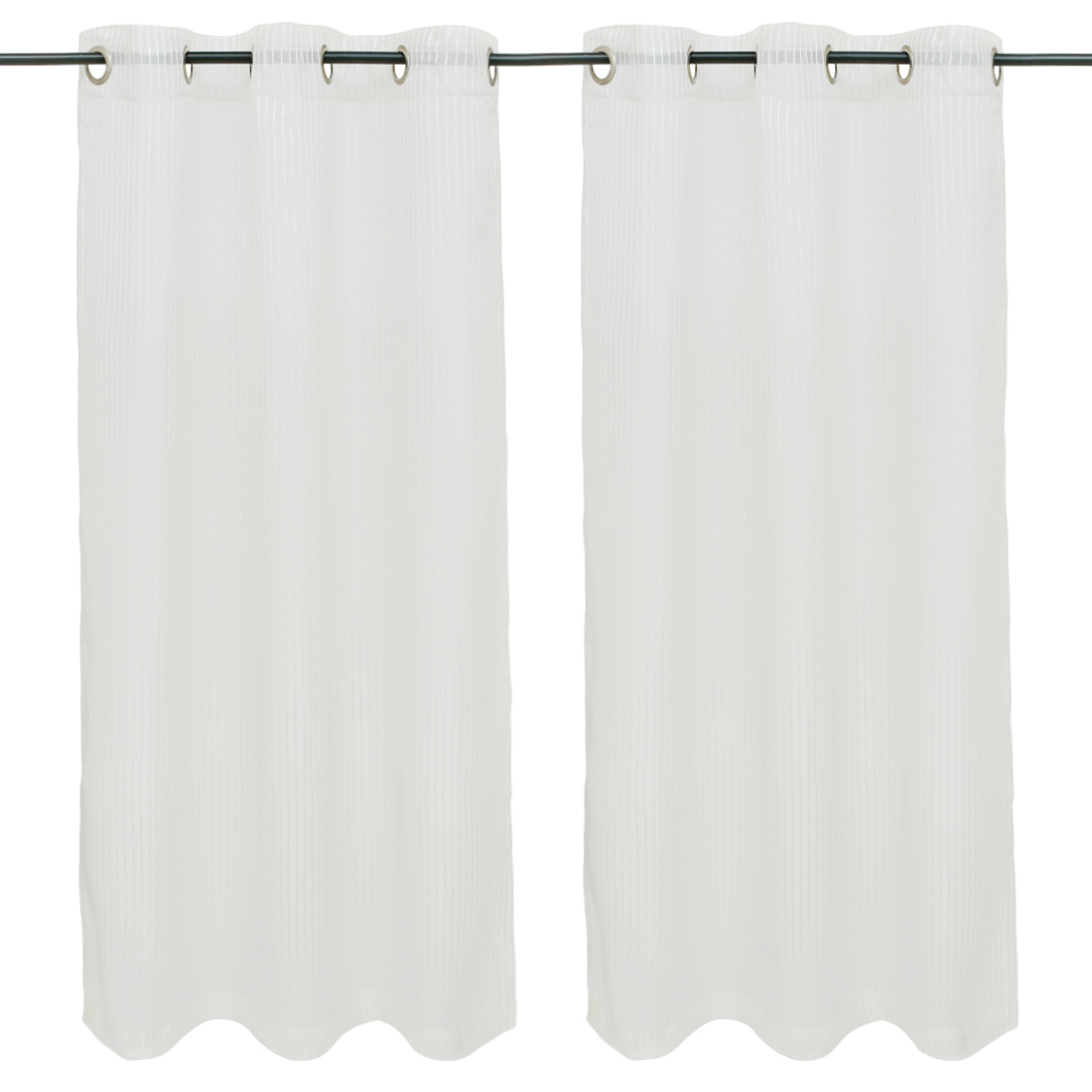 Amour set of 2 Polyester Window Curtains in White Colour by Living Essence