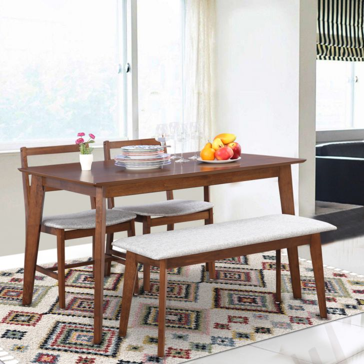 Allen Engineered Wood Four Seater Dining Set in Light Walnut Colour by HomeTown