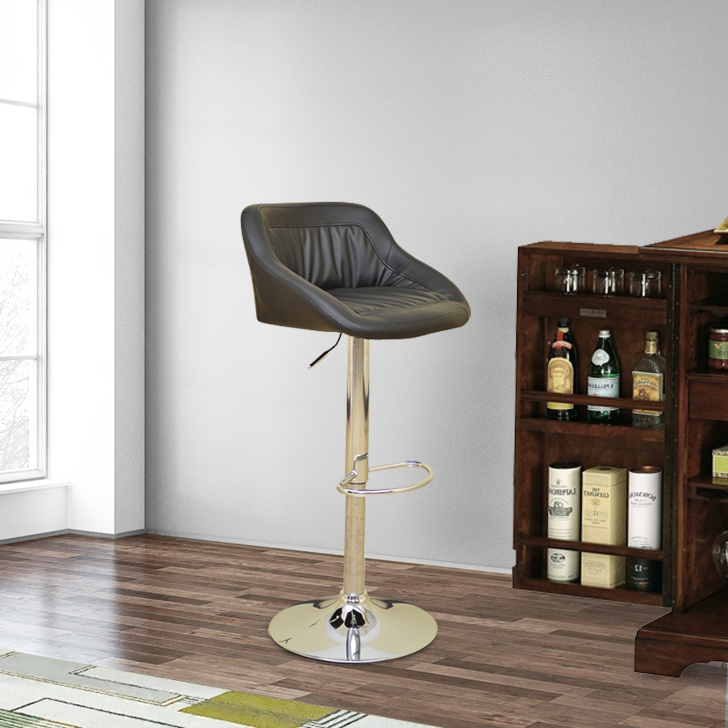 Dane Stainless steel Bar Chair and Stool in Black Colour by HomeTown