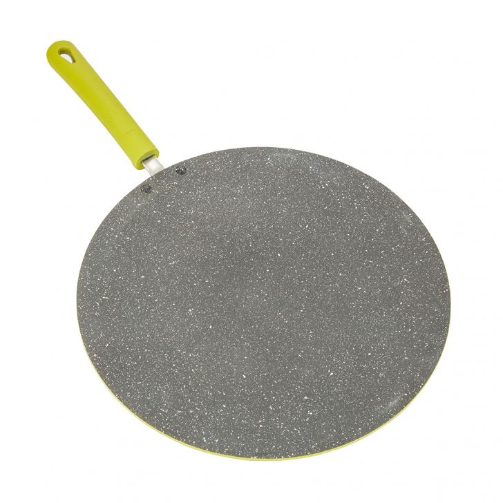 Granite Concave Tava 28Cm Green Pressed Alluminium Tawa in Green Colour by Living Essence