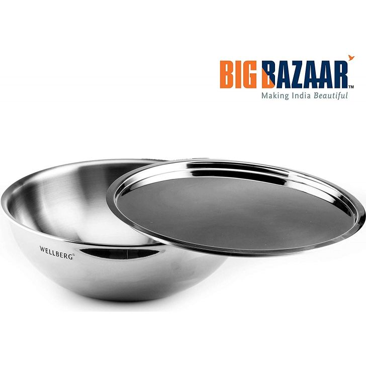 Trinox Triply Induction Base Tasra 26 cm with Lid Stainless steel Cooking Vessels in Silver Colour by Wellberg