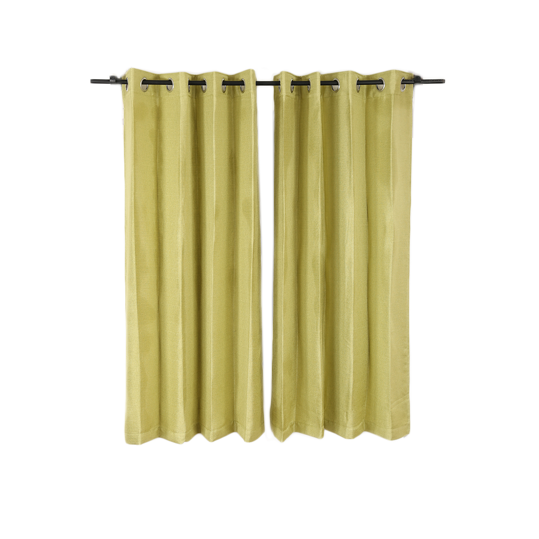 Textura Window Curtain Green Set of 2 Polyester Window Curtains in Green Colour by Living Essence