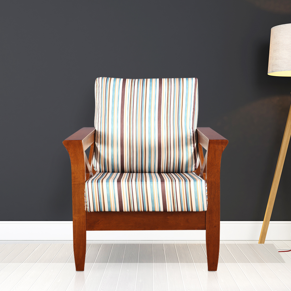 Aldrich Solid Wood Single Seater Sofa With Cushions in Stripes Colour by HomeTown