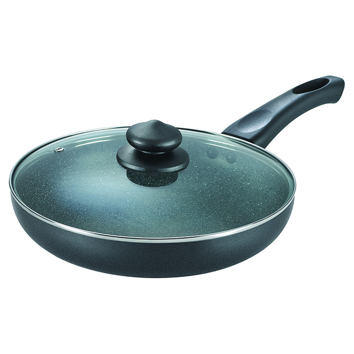 Prestige Omega Deluxe Granite 26 Cm Fry Pan With Lid Aluminium Fry Pans in Grey Colour by Prestige