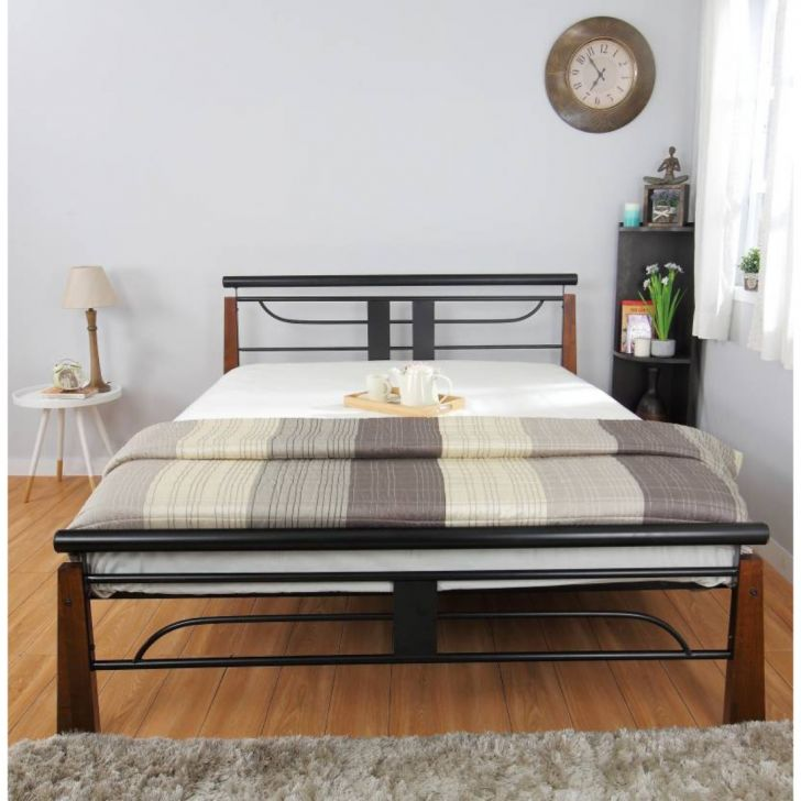 Diamond Metal Queen Size Bed in Black Colour by HomeTown