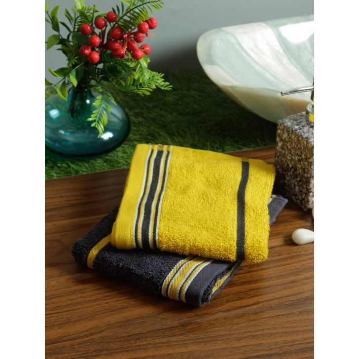 Set of 2 Emilia Cotton Hand Towels in Navy Gold Colour by Living Essence