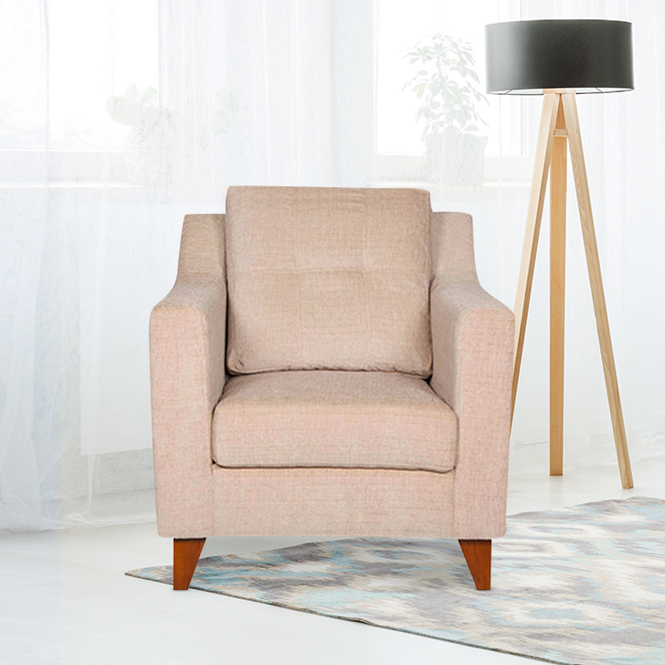 Ravioli Fabric Single Seater Sofa in Beige Colour by HomeTown