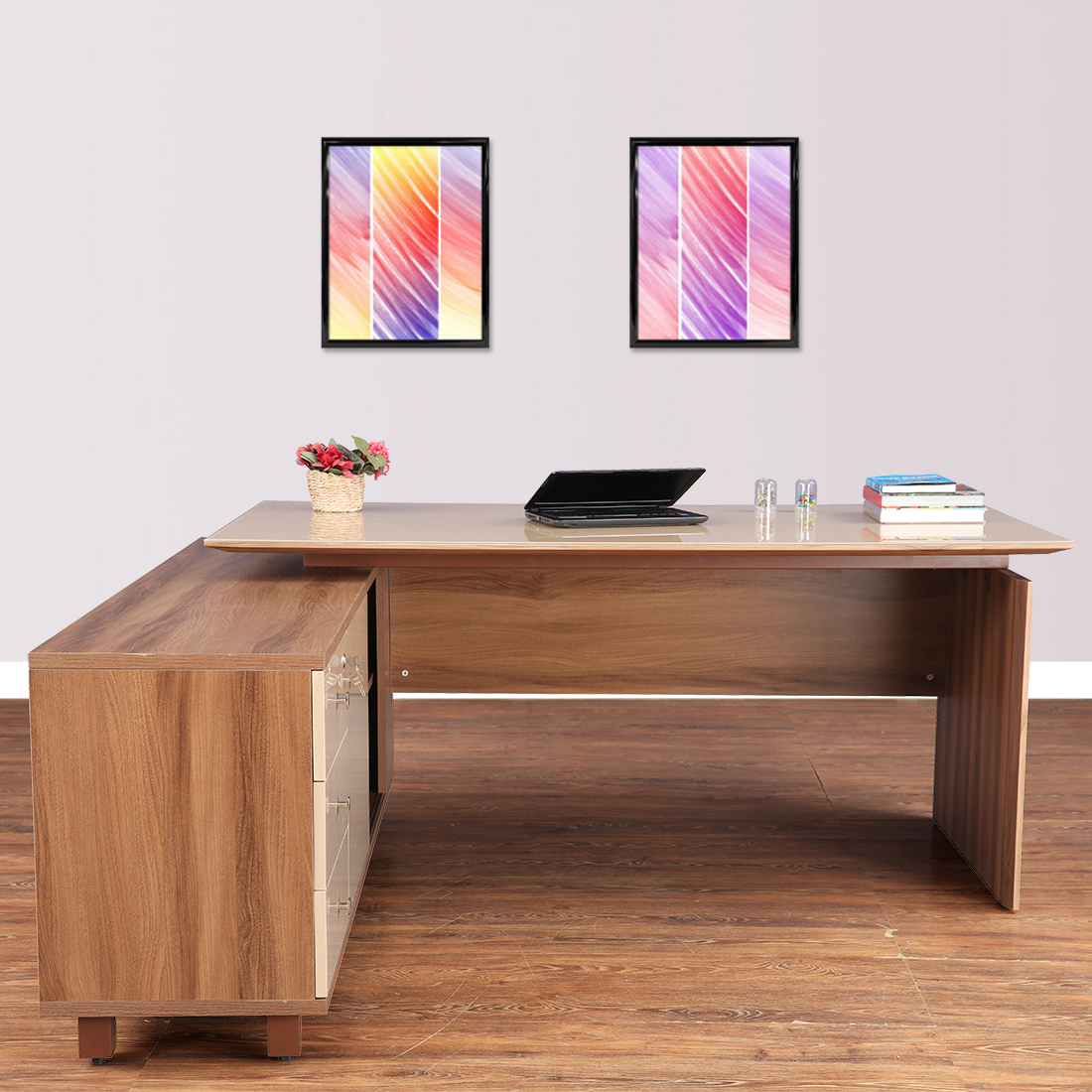 Chief Engineered Wood Office Table in Walnut Bronze & Capuchino Colour by HomeTown