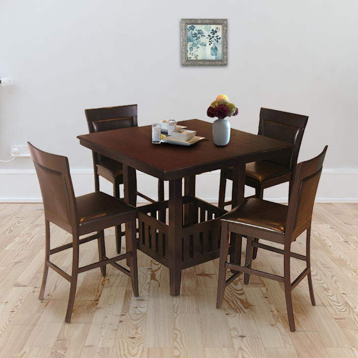 Caren Solid Wood Four Seater Dining Set in Cappuchino Colour by HomeTown