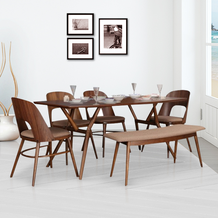 Orion Solid Wood Six Seater Dining Set in Dark Walnut Colour by HomeTown
