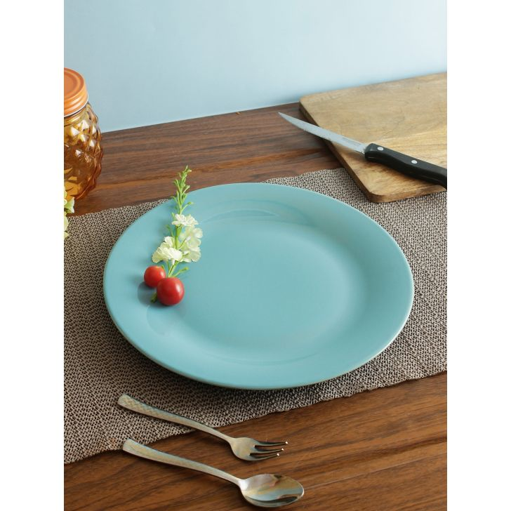 Ceramic Dinner Plate 10.5 Inch in Blue Colour by Living Essence