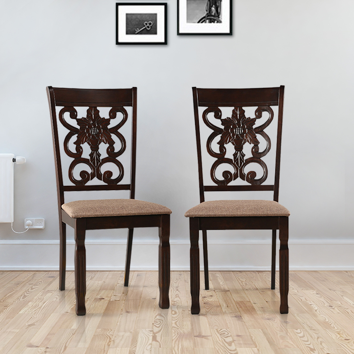 Victoria Solid Wood Dining Chair Set of Two in Wenge Colour by HomeTown