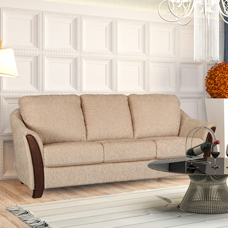 Coleman Fabric Three Seater sofa in Beige Colour by HomeTown
