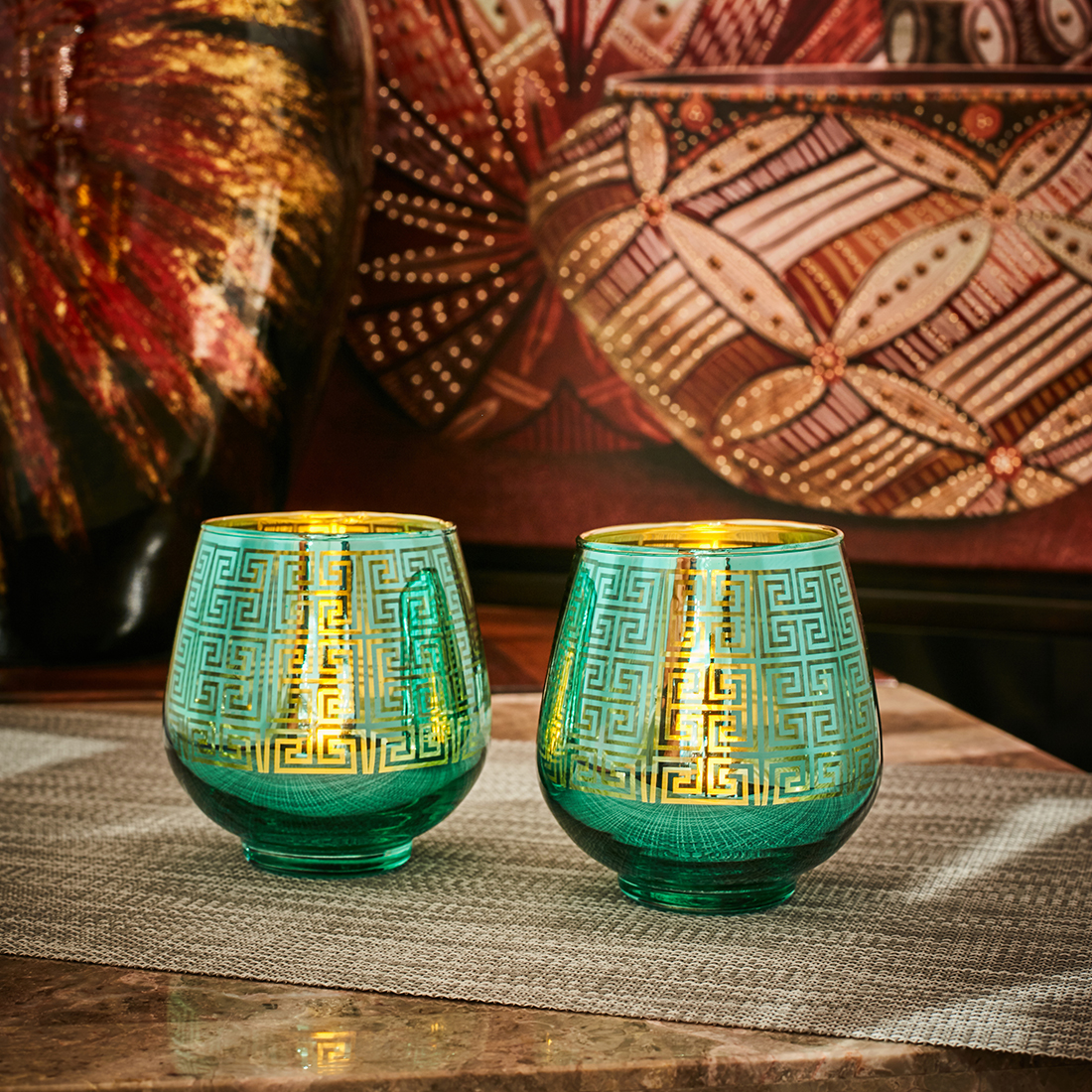 Zahara Set Of 2 Grid Etched Glass Candle Holders in DARK GREEN Colour by Living Essence