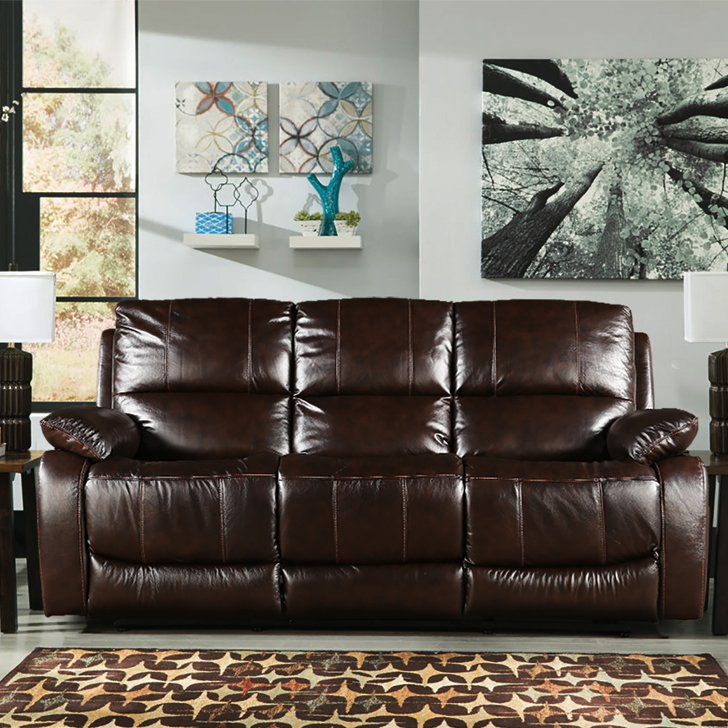 William Half Leather Three Seater Recliner in Brown Colour by HomeTown