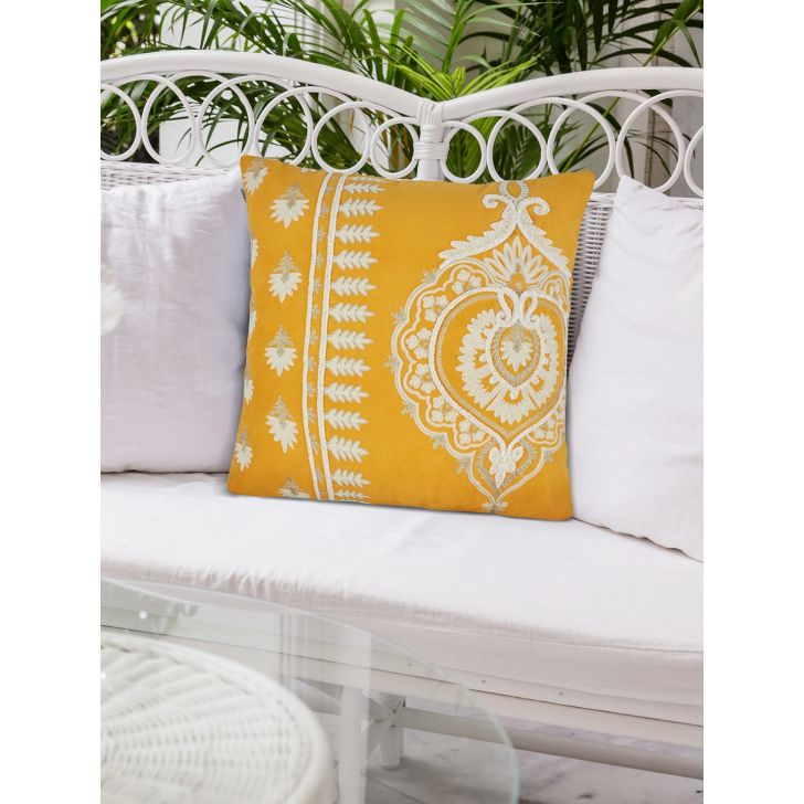 Folklore Jewel Polyester Cushion Covers in Mango Colour by Living Essence