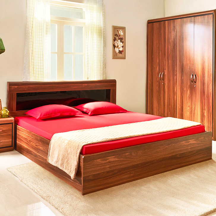 Archer Engineered Wood Box Storage King Size Bed in Walnut Colour by HomeTown