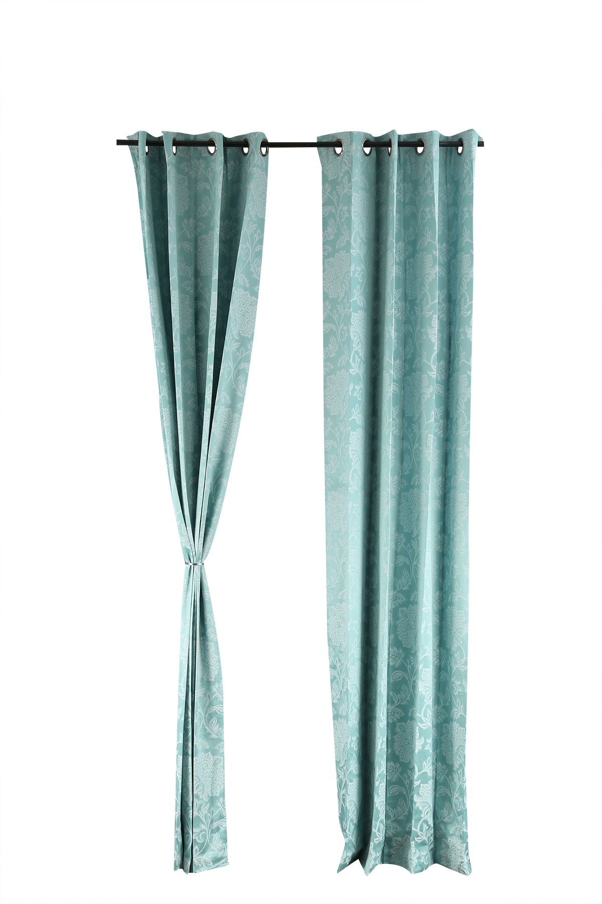 Florina Window Curtain Sea Polyester Window Curtains in Sea Green Colour by Living Essence