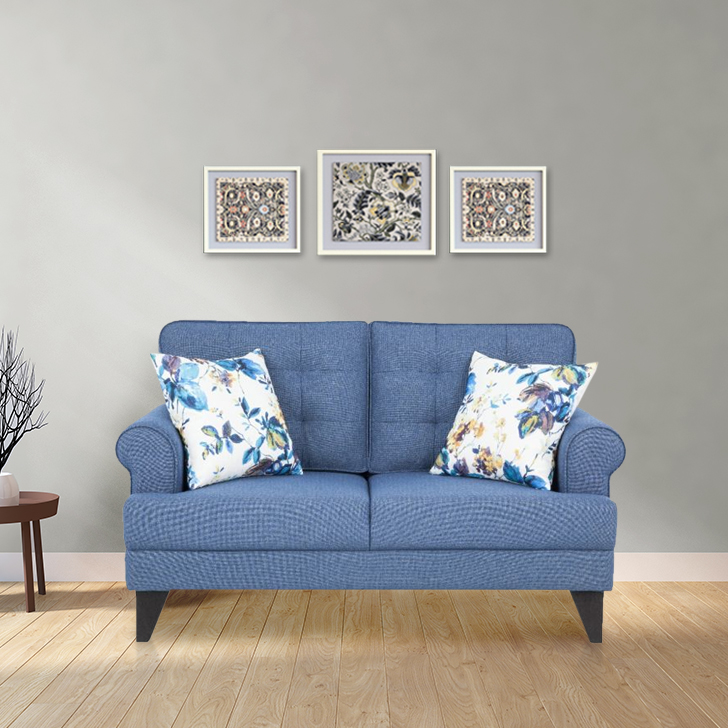 Miller Fabric Two Seater Sofa in Blue Color by HomeTown