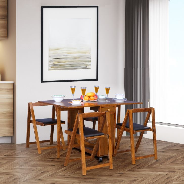 Compact Solid Wood Four Seater Dining Set in Walnut Colour by HomeTown