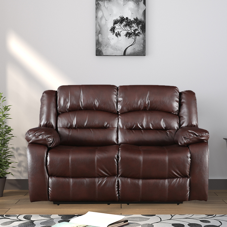 Bradford Fabric Two Seater Recliner in Brown Colour by HomeTown