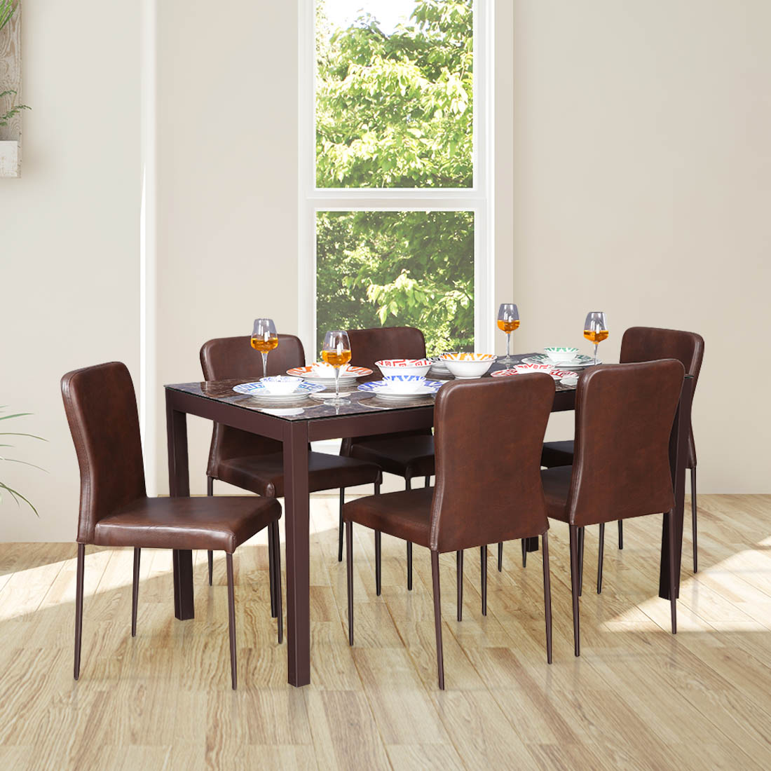 Modric Mild Steel Six Seater Dining Set in Brown Colour by HomeTown