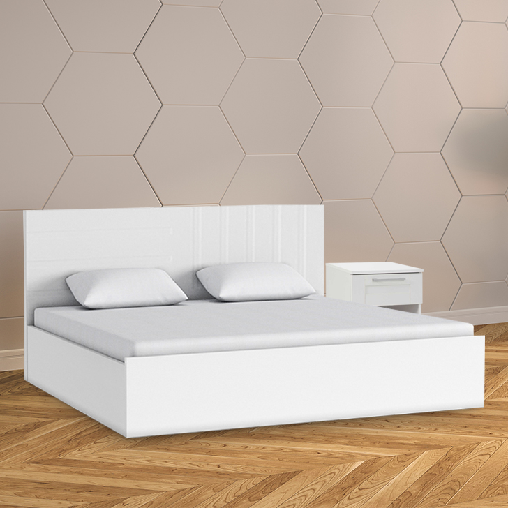 Carol Engineered Wood King Size Bed in White Colour by HomeTown