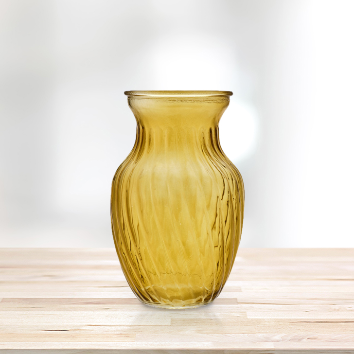 Verve Flared Tulip Vase 20Cm Citron Glass Vases in Citron Colour by Living Essence