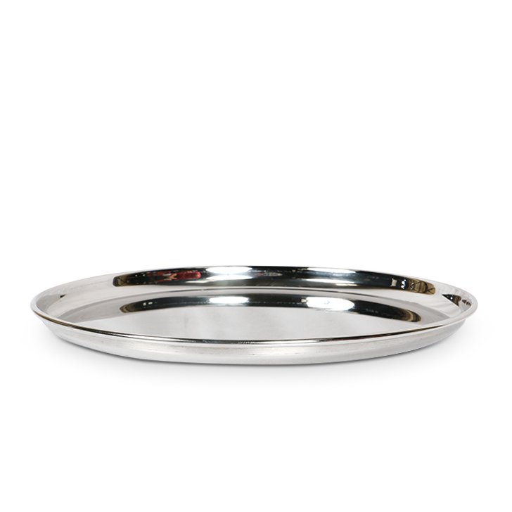 Stainless Steel Silver Big Plate Stainless steel Plates in Silver Colour by Living Essence