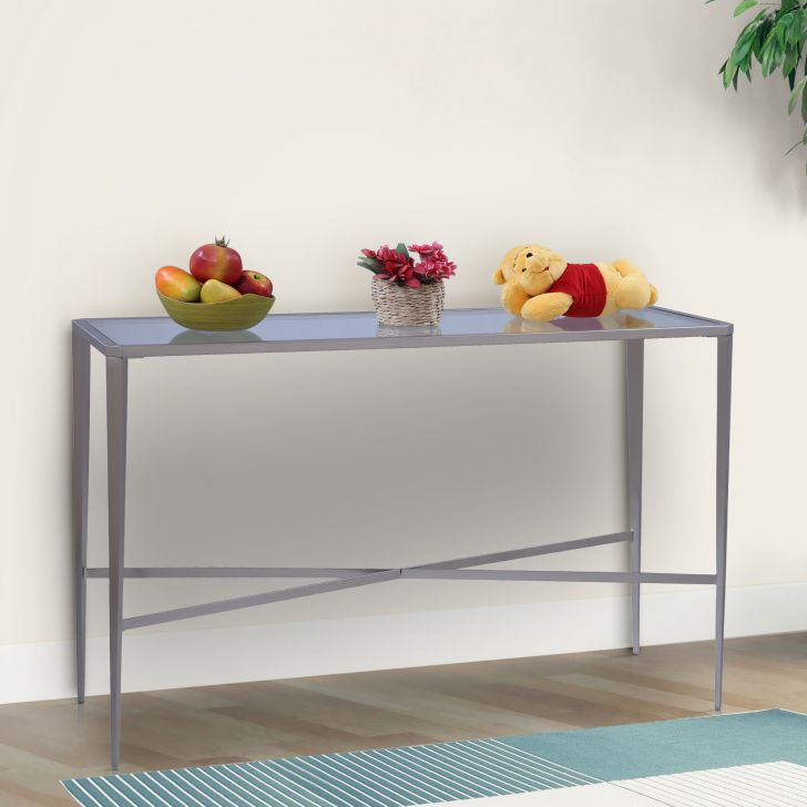Venezia Glass Top Console Table in Brushed Steel Colour