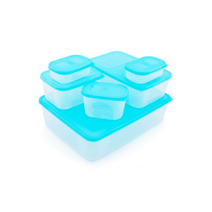 Freezer Star Containers Set Of 6 Plastic Containers in Blue Colour by Living Essence