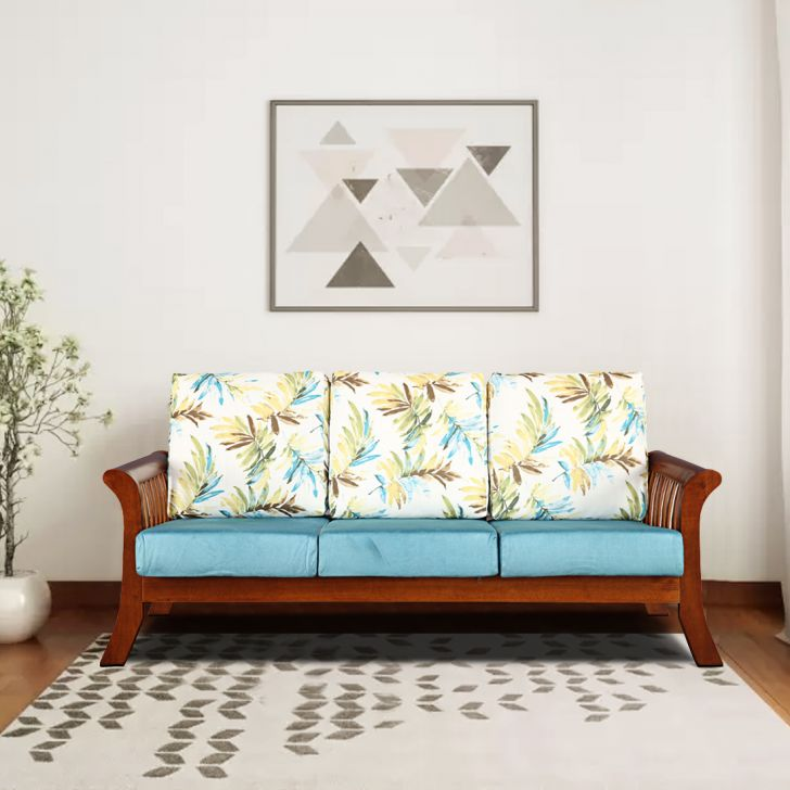 Aubrey Solid Wood Three Seater Sofa with Cushion in Printed Teal Colour by HomeTown
