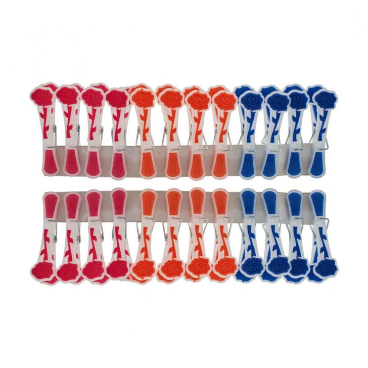 Cloth Clips 24 Pcs Plastic Hangers & Hooks in Assorted Colour by Living Essence