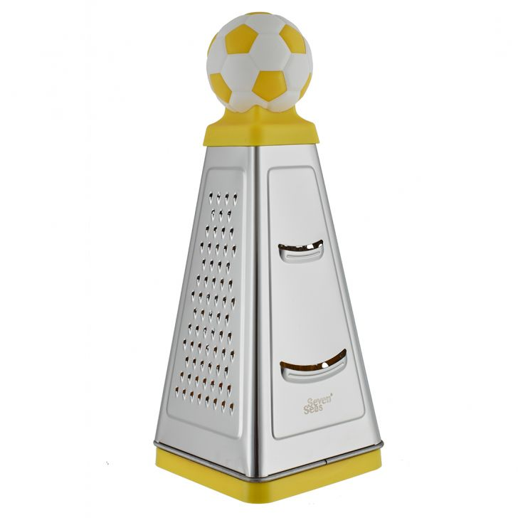 Ss 4 Sided Grater 10 W Cont Football Stainless steel Knives & Graters in Silver Colour by Living Essence