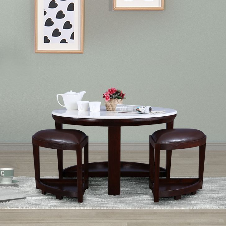 Christine Solid Wood Stool in Brown Colour by HomeTown