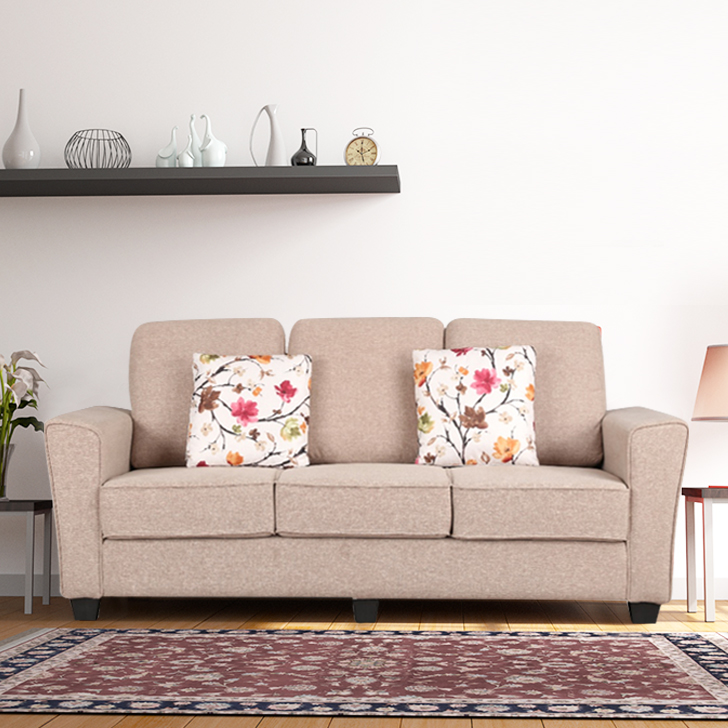 Rogers Fabric Three Seater sofa in Brown Colour by HomeTown