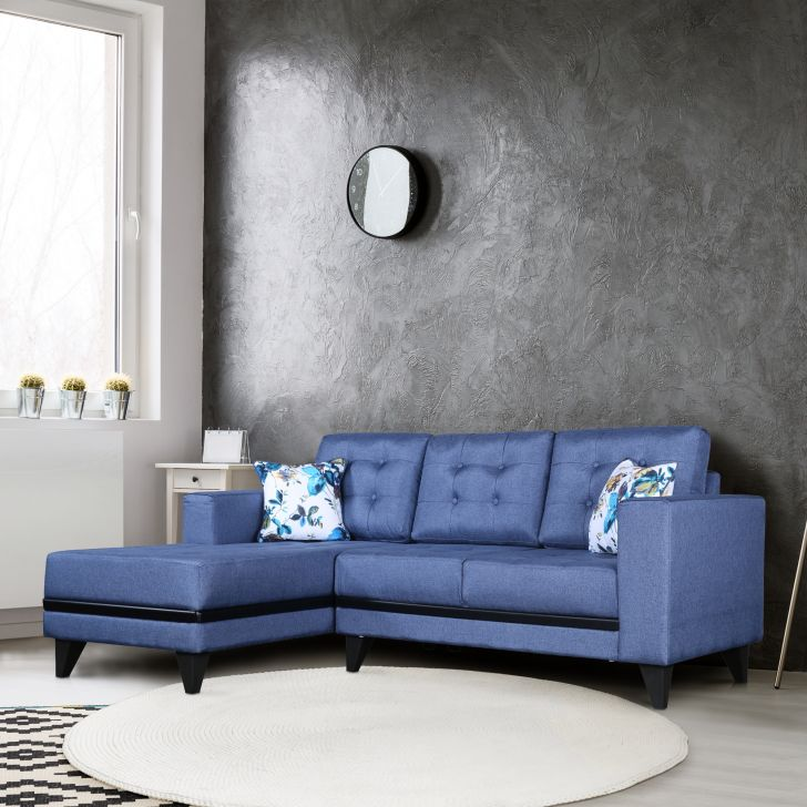 Garcia Plus Fabric Small Right Hand Side Lounger in Blue Colour by HomeTown
