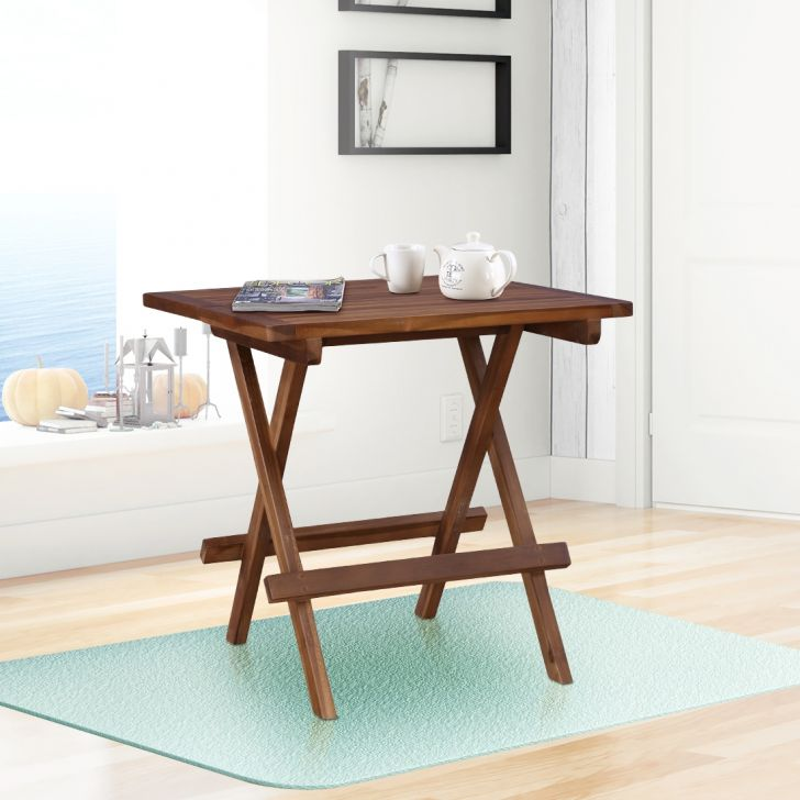 Elvis Solid Wood Folding Table in Teak Colour by HomeTown