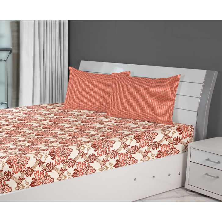 Fiesta Damask Cotton Double Bed Sheets in Red Colour by Living Essence