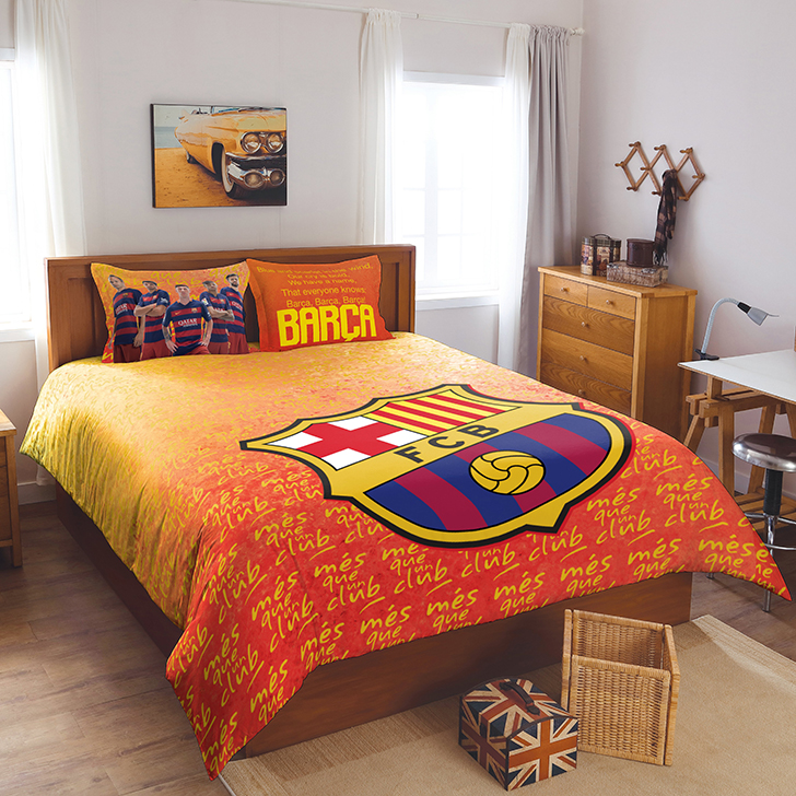 Spaces Fcb Crest Orange Bed With 2 Pillow Cotton Double Bed Sheets in Orange Colour by Spaces