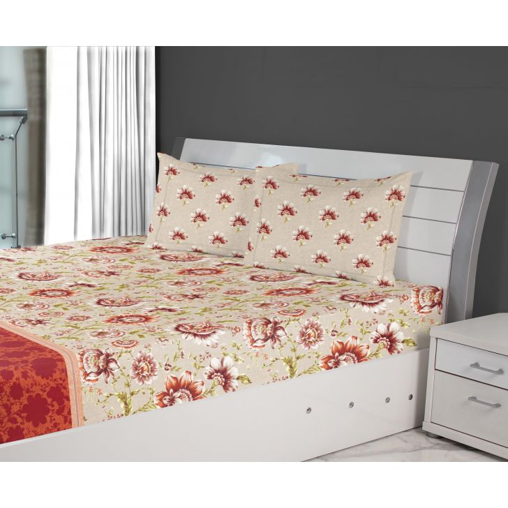 Nora Jacobean Printed Cotton Double Bedsheets in Red Colour by Living Essence