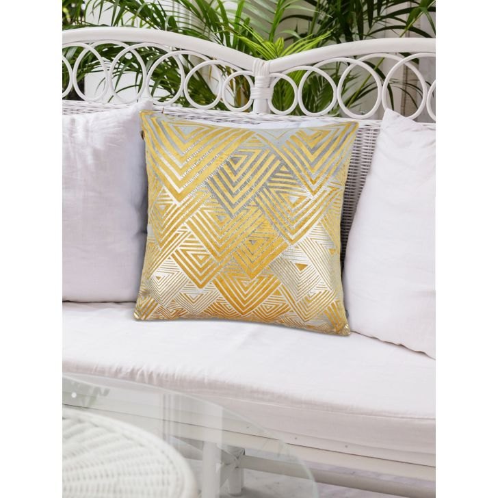 Modern Amex Polyester Cushion Covers in Mustard Colour by Living Essence