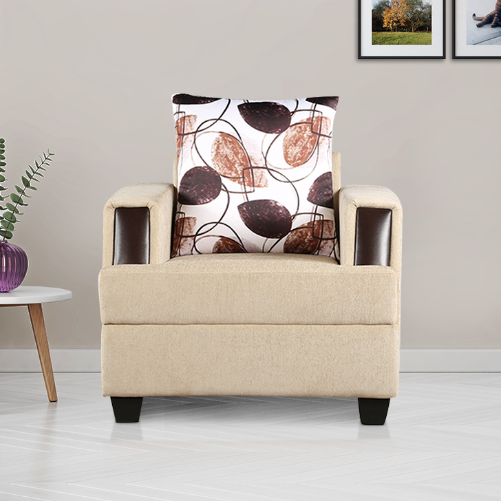 Elanza Fabric Single Seater Sofa in Beige Colour by HomeTown