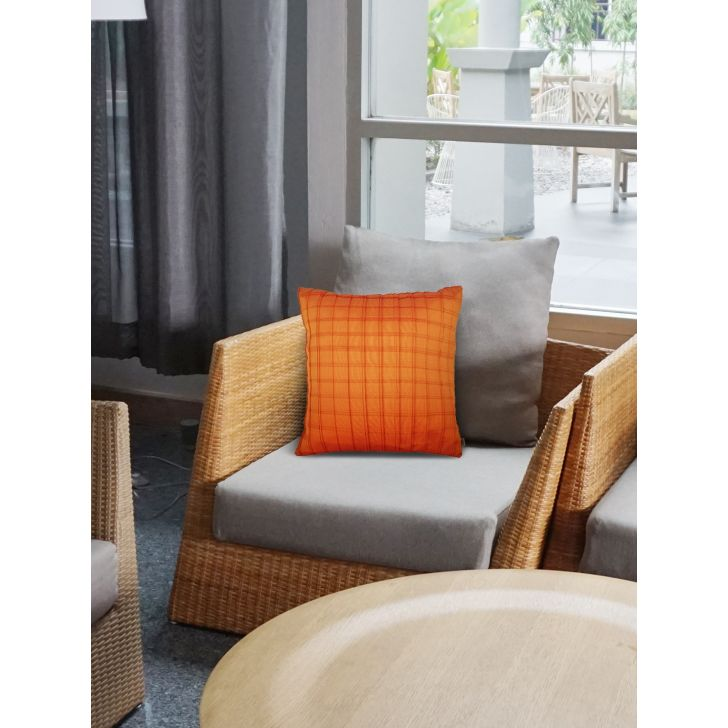 Folklore Charles Polyester Cushion Covers in Mango Colour by Living Essence