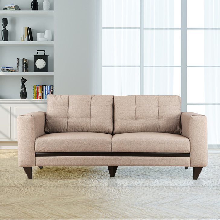 Garcia Fabric Three Seater sofa in Brown Colour by HomeTown