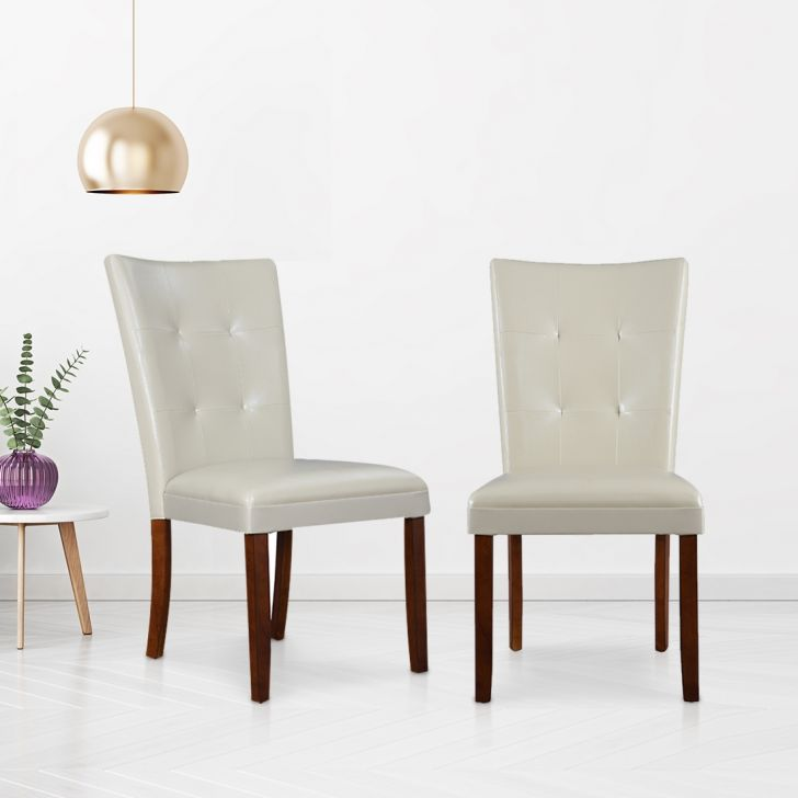 Bliss Parson Solid Wood Dining Chair Set of Two in Beige Colour by HomeTown