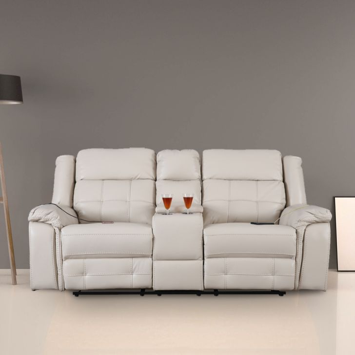 Benue Nappa Aire Two Seater Electric Recliner in Beige Color by HomeTown