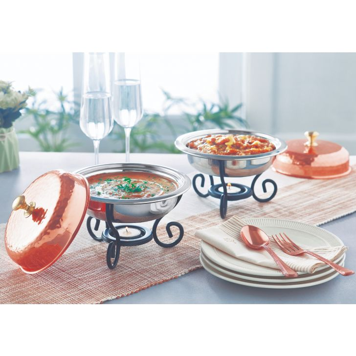 Copper Minichafer Stainless steel Serving Sets in Copper Colour by Songbird