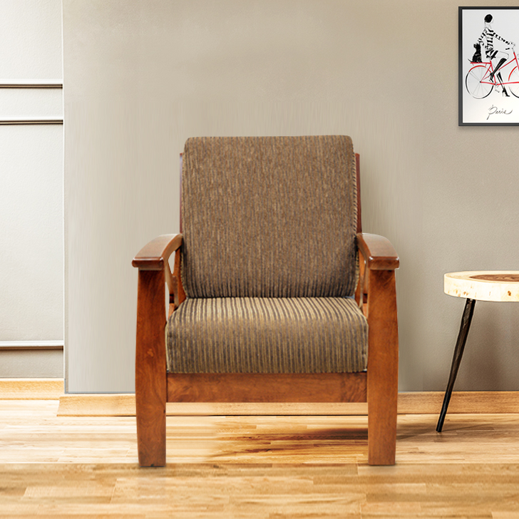 Winston Rubber Wood Single Seater sofa in Beige Colour by HomeTown